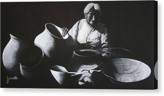 Woman Weaving A Basket Canvas Print