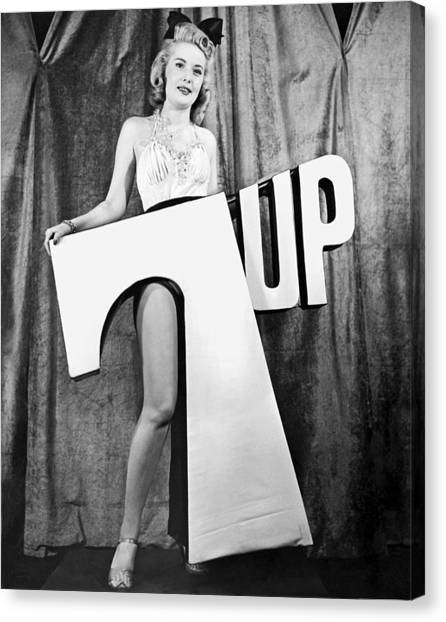 Black 7 White Canvas Print - Woman With 7 Up Logo by Underwood Archives