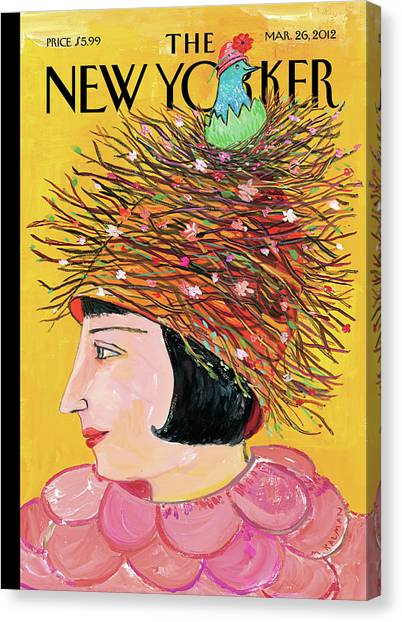 Woman With A Hat That Looks Like A Birds Nest Canvas Print