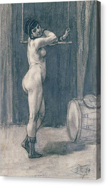 Signature Canvas Print - Woman With A Trapeze by Felicien Rops