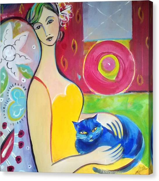 Woman With Blue Cat Canvas Print by Marlene LAbbe