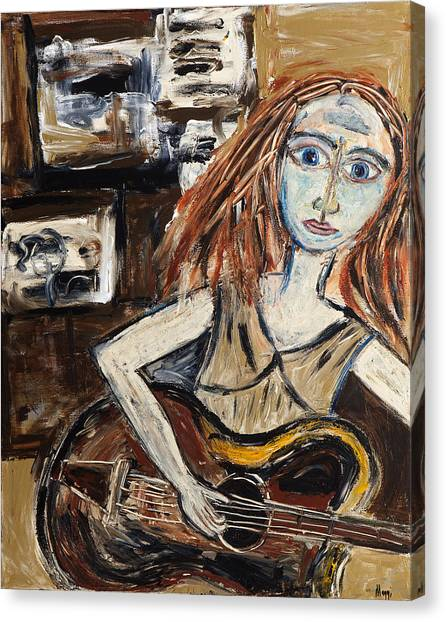 Woman With Guitar Canvas Print by Maggis Art