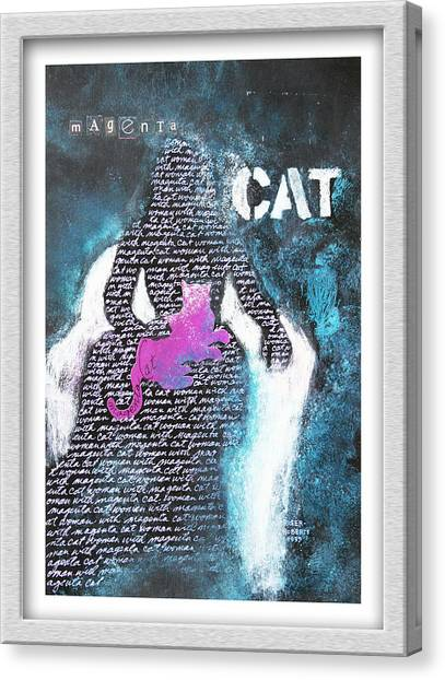 Woman With Magenta Cat Canvas Print by Eve Riser Roberts