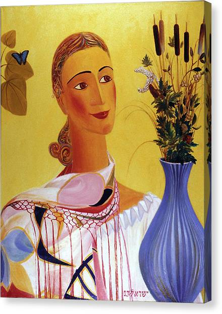American Jewish Artists Canvas Print - Woman With Shawl by Israel Tsvaygenbaum