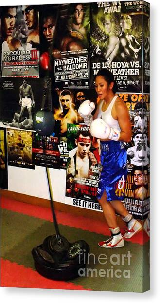 Manny Pacquiao Canvas Print - Woman's Boxing Champion Filipino American Ana Julaton Working Out by Jim Fitzpatrick