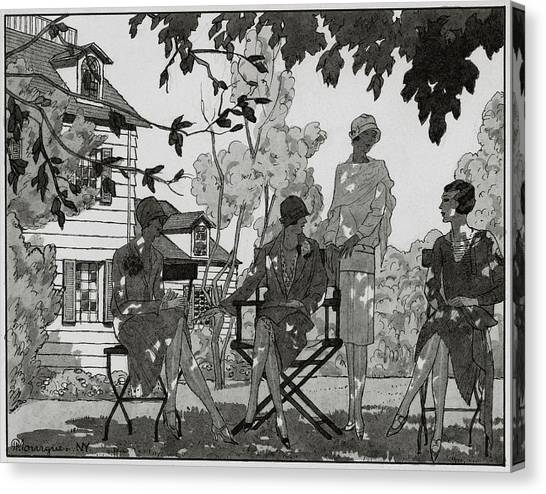 Women At The Woman's National Golf Club On Long Canvas Print by Pierre Mourgue