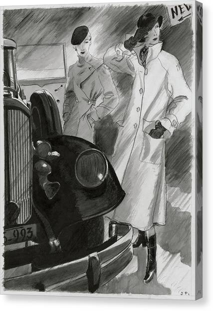 Women By A Car Canvas Print