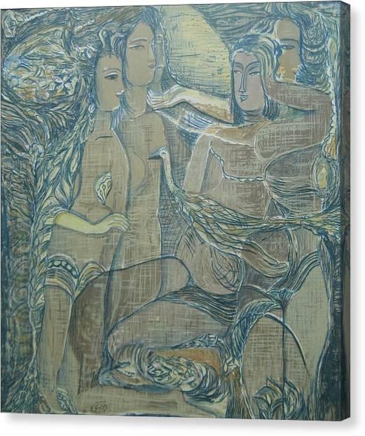 Women Chatting  Canvas Print
