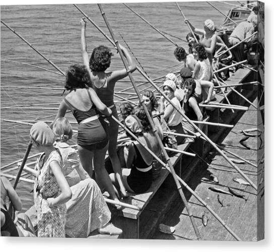 Fishing Poles Canvas Print - Women Fishing With Cane Poles by Underwood Archives