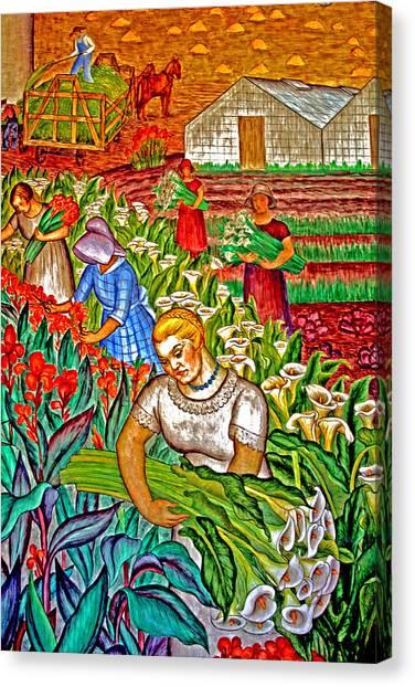 Women Gathering Flowers Canvas Print