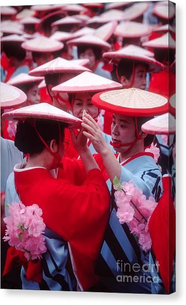 Women In Heian Period Kimonos Preparing For A Parade Canvas Print