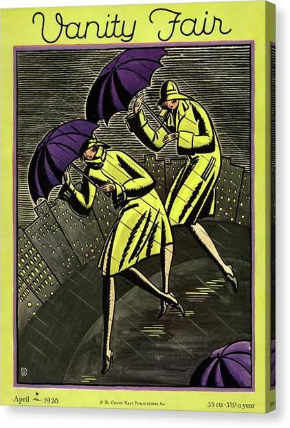 Raincoat Canvas Print - Women In The Rain by Marion Wildman