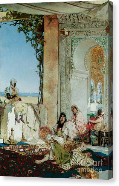 Moorish Canvas Print - Women Of A Harem In Morocco by Jean Joseph Benjamin Constant