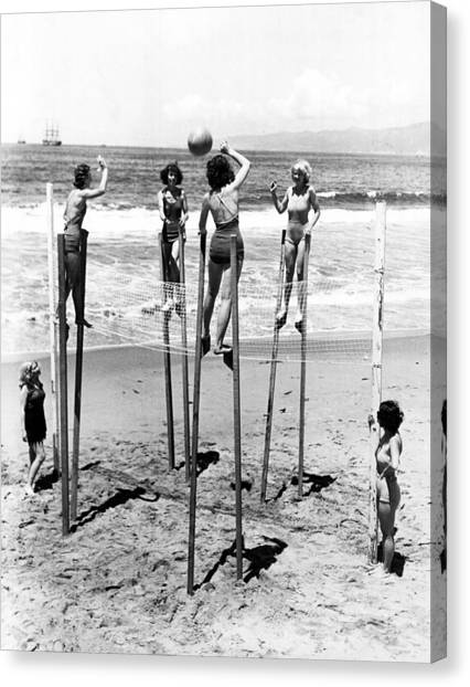 Volleyball Canvas Print - Women On Stilts by Retro Images Archive