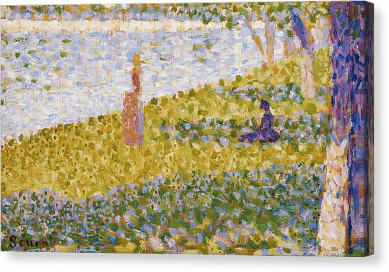 Post-impressionism Canvas Print - Women On The River Bank by Georges Pierre Seurat