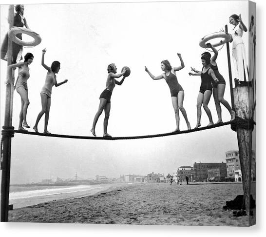 Basketball Canvas Print - Women Play Beach Basketball by Underwood Archives