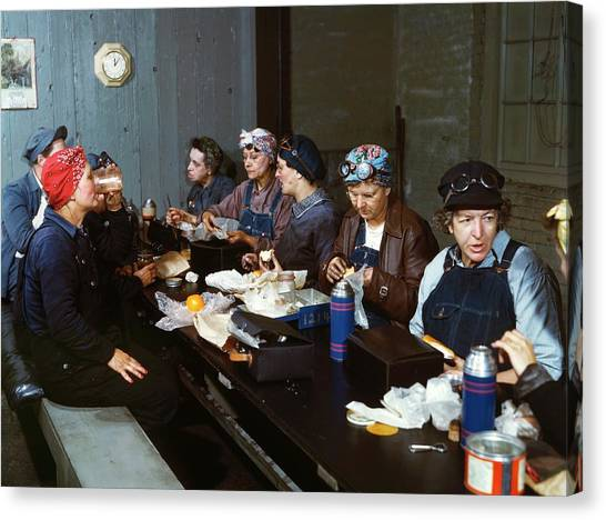 Sandwich Canvas Print - Women Railway Workers At Lunch by Library Of Congress