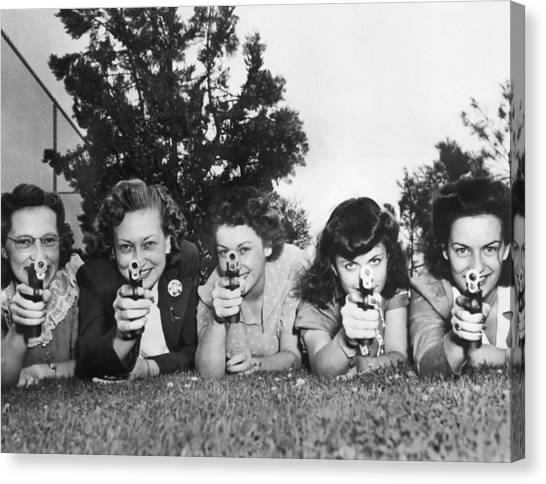 Head And Shoulders Canvas Print - Women Take Weapons Training by Underwood Archives