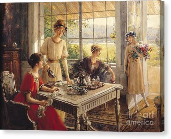 Kitchen Window Canvas Print - Women Taking Tea by Albert Lynch