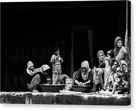 Syrian Canvas Print - Women Washing by Faruk Uslu