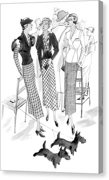 Women Wearing Checked Suits Canvas Print by Jean Pages