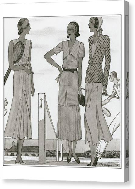 Women Wearing Designer Dresses Canvas Print by Pierre Mourgue