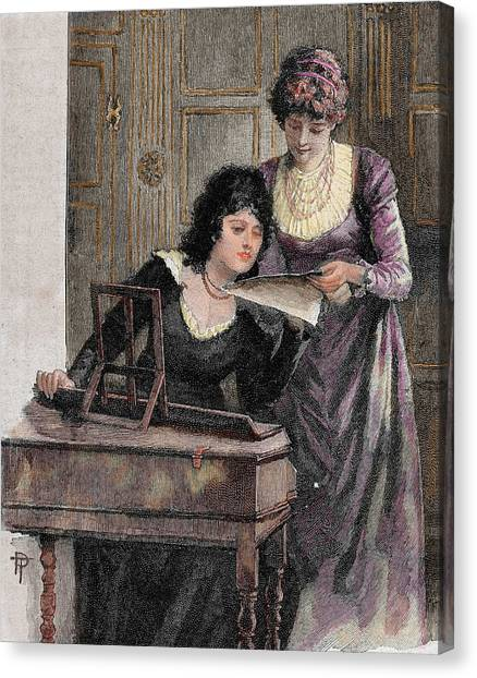 Harpsichords Canvas Print - Women With A Harpsichord by Prisma Archivo