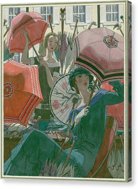 Women With Parasols Canvas Print by Pierre Brissaud