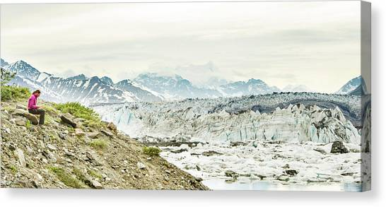 Yukon Canvas Print - Women Writing In Her Journal While by Josh Miller Photography