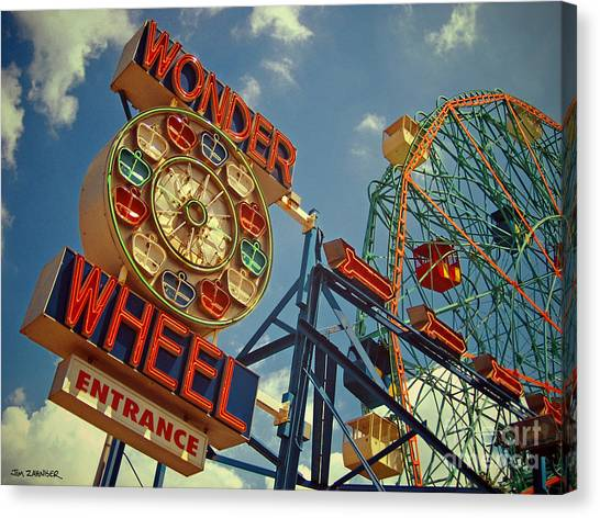Cyclones Canvas Print - Wonder Wheel - Coney Island by Carrie Zahniser