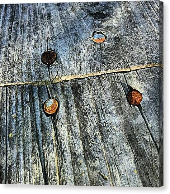 Tools Canvas Print - Wood / Rusty Nails by Elisa Franzetta