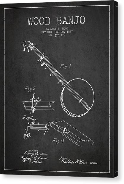 Banjos Canvas Print - Wood Banjo Patent Drawing From 1887 - Dark by Aged Pixel