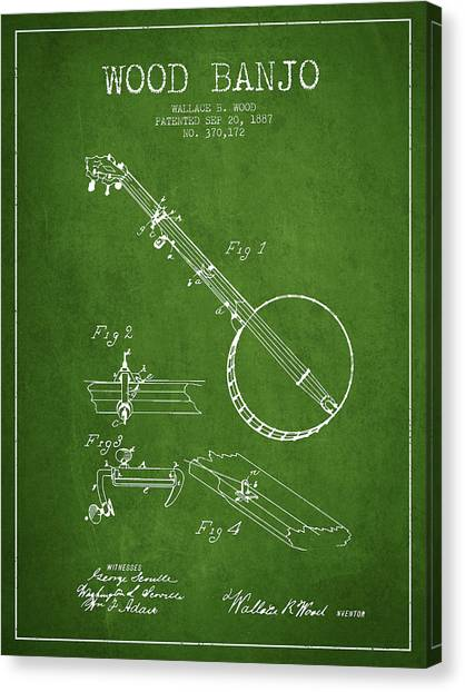 Banjos Canvas Print - Wood Banjo Patent Drawing From 1887 - Green by Aged Pixel
