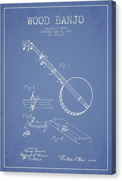 Banjos Canvas Print - Wood Banjo Patent Drawing From 1887 - Light Blue by Aged Pixel
