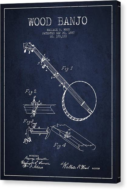 Banjos Canvas Print - Wood Banjo Patent Drawing From 1887 - Navy Blue by Aged Pixel