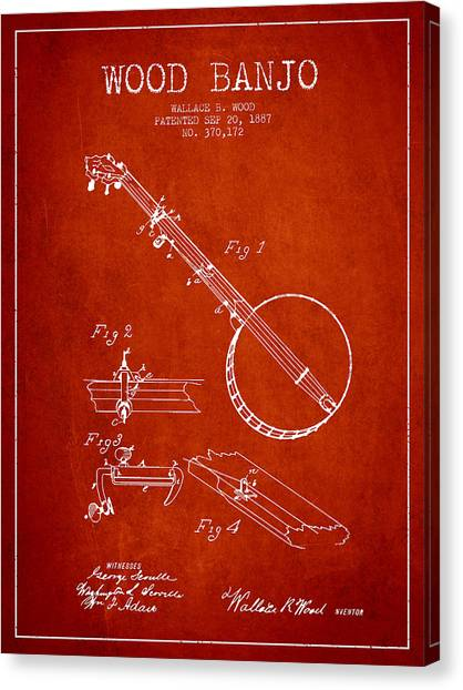 Banjos Canvas Print - Wood Banjo Patent Drawing From 1887 - Red by Aged Pixel