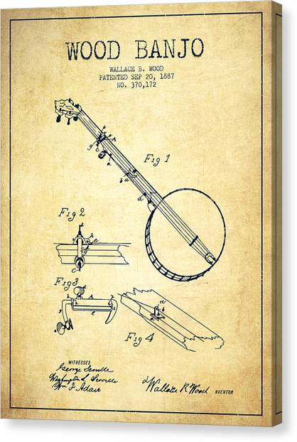 Banjos Canvas Print - Wood Banjo Patent Drawing From 1887 - Vintage by Aged Pixel