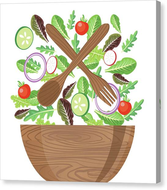 Wood Bowl Of Salad With Flying Canvas Print by Diane Labombarbe