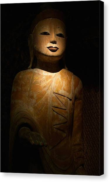 Wood Buddha Statue Canvas Print