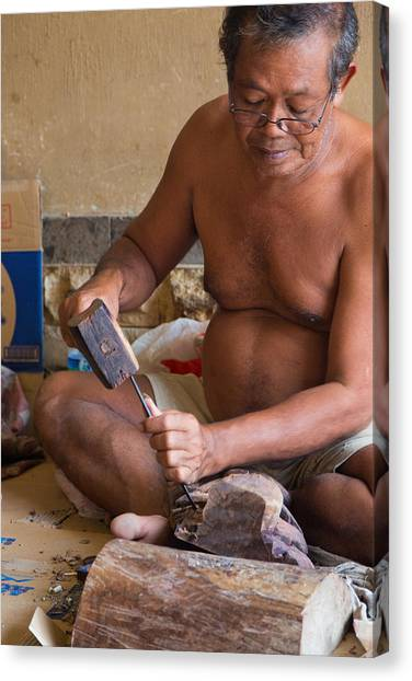 Wood Carver - Bali Canvas Print