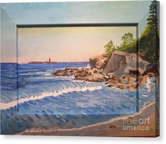 Wood Island Lighthouse In Biddeford Pool Canvas Print