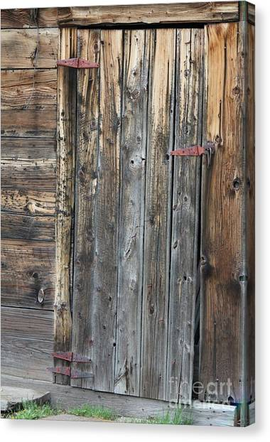 Canvas Print featuring the photograph Wood Shed Door by Ann E Robson