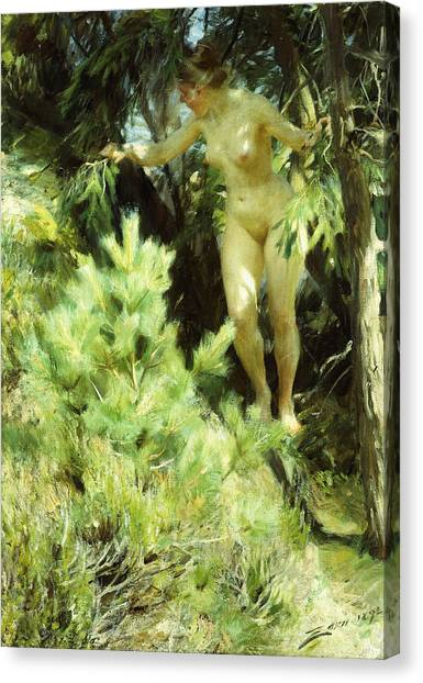 Women Only Canvas Print - Wood-sprite by Anders Leonard Zorn