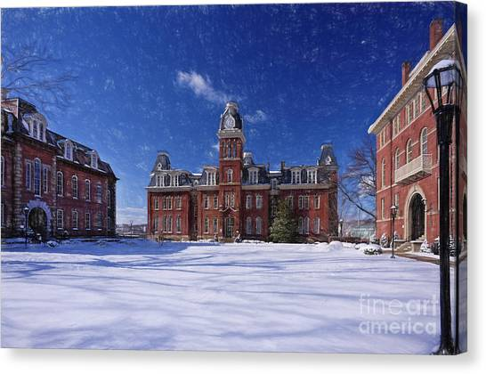Woodburn Hall In Snow Strom Paintography Canvas Print