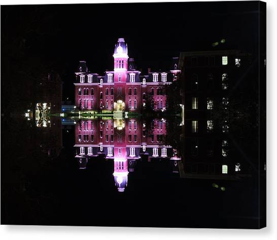 West Virginia University Wvu Canvas Print - Woodburn Hall Reflection by Cityscape Photography