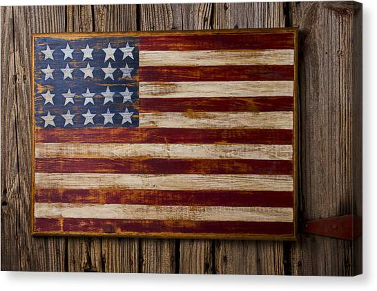 Gay Flag Canvas Print - Wooden American Flag On Wood Wall by Garry Gay