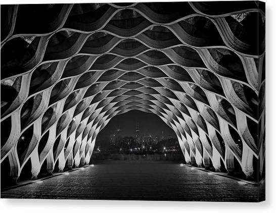 Wooden Archway With Chicago Skyline In Black And White Canvas Print