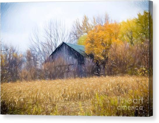 Wooden Autumn Barn Canvas Print