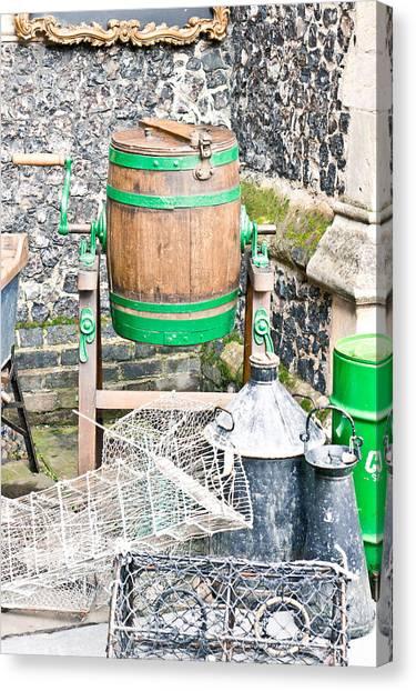 Fleas Canvas Print - Wooden Barrel by Tom Gowanlock