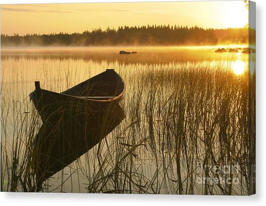Sunrise Canvas Print - Wooden Boat by Veikko Suikkanen
